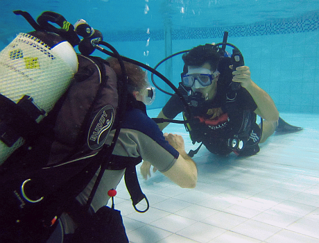 Taking a try dive with Cardiff Bsac
